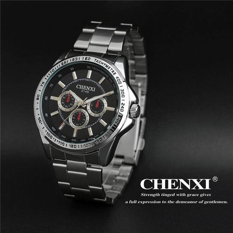 2017 New Arrival CHENXI Brand Sport Waterproof Steel Black Blue Quartz Wristwatches Wrist Watch for Men