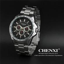2017 New Arrival CHENXI Brand Sport Waterproof Steel Black Blue Quartz Wristwatches Wrist Watch for Men 014B