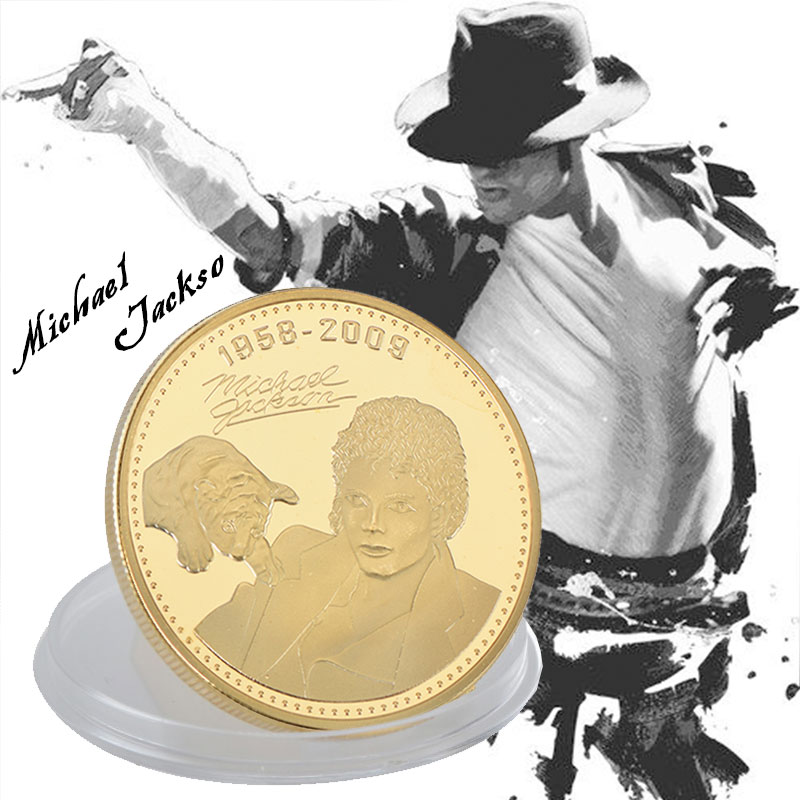 American Superstar The King Of  Pop Michael Jackson MJ Commemorative Coin 24K Gold Plated Metal Coin Gifts For Collection