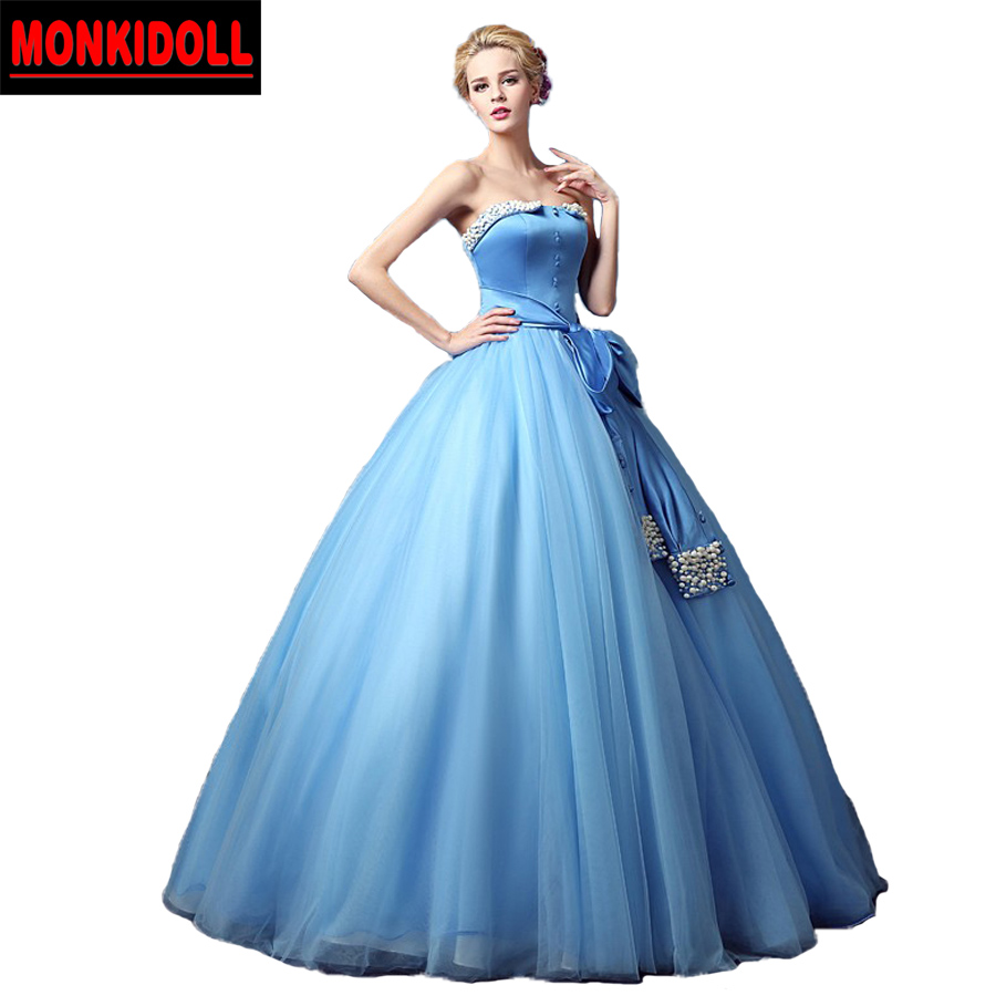 Vintage Strapless Pearls Puffy Prom Dresses Sky Blue 2017 Long Prom ...