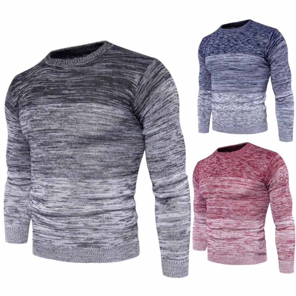 Новинка 2017 года Для мужчин S круглый Средства ухода за кожей Шеи градиент Цвет свитер Мода Для мужчин хлопковый свитер с длинным рукавом мужской M-3XL осень-зима