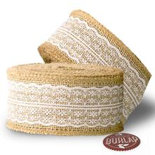 metable 2pcs Burlap Ribbon with White Lace- Burlap Lace Ribbons. Use it for wedding decor, banners,table runners,crafts and more цены