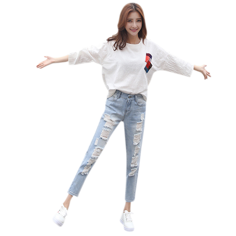 Women Boyfriend Style Jeans Hole Ripped Jeans Harem Pant Jeans Casual Loose Ankle-Length Pants For Woman Ladies Skinny Pen