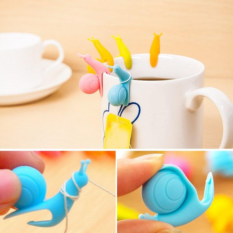 10pcs/5pcs/1pcs Silicone Tea Clips For Tea Bag Holder Teabags Green Puer Flower Convenient Teacup For Mug Snail Teas Bag Clip