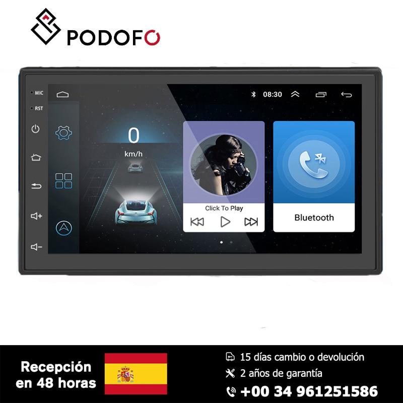 Podofo Android 6.0 autoradio GPS lien miroir avec double contrôle NAND mémoire Flash Navigation Bluetooth lecteur USB