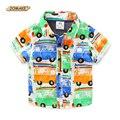 Carro dos desenhos animados Impresso Meninos Camisas de Verão 2016 de Moda de Nova Bebê Menino Roupas de Manga Curta Crianças dos miúdos Camisa do Menino Da Criança Roupas