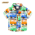 Cartoon Car Printed Boys Shirts Summer 2016 New Fashion Baby Boy Clothes Short Sleeve Kids Children Shirt Toddler Boy Clothing