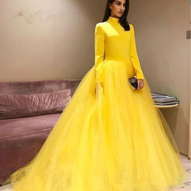 Prom     dress   long sleeves A line tulle yellow floor length high neck women evening party   dress   PD402001 vestidos de fiesta