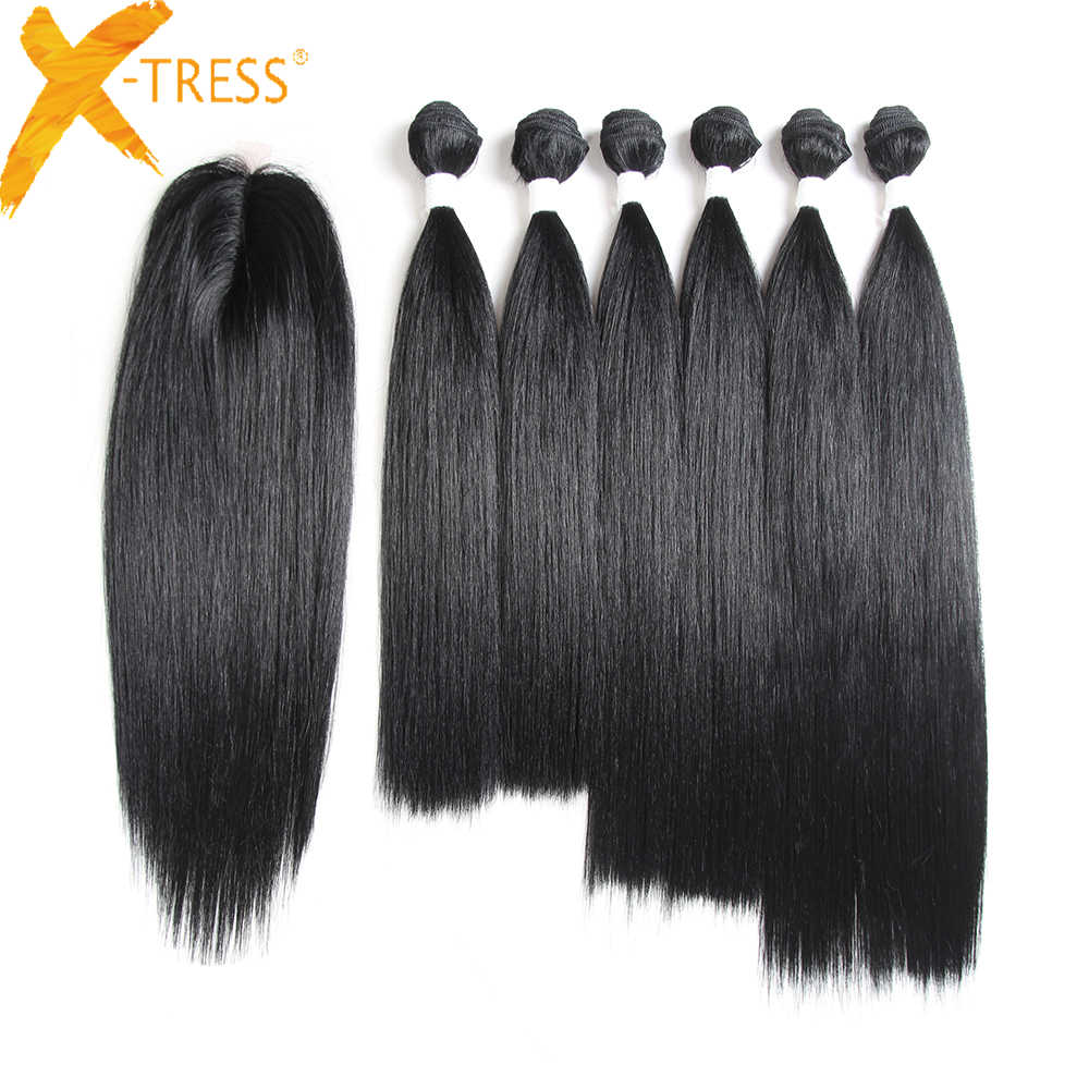 Natural Black Straight Hair Weaves 6 Bundles With Small Lace Closure X-TRESS Synthetic Hair Weft Extensions 14-18inch One Pack