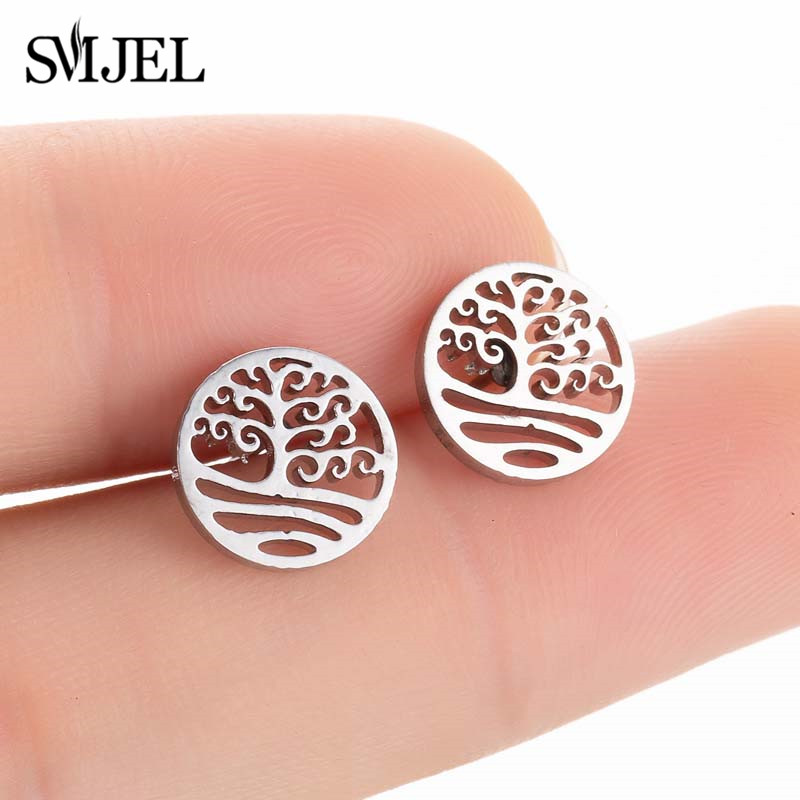SMJEL Bohemian Tree of Life Stainless Steel Stud Earrings for Men Women Earrings Pierced Jewelry Prevent Allergy Earrings