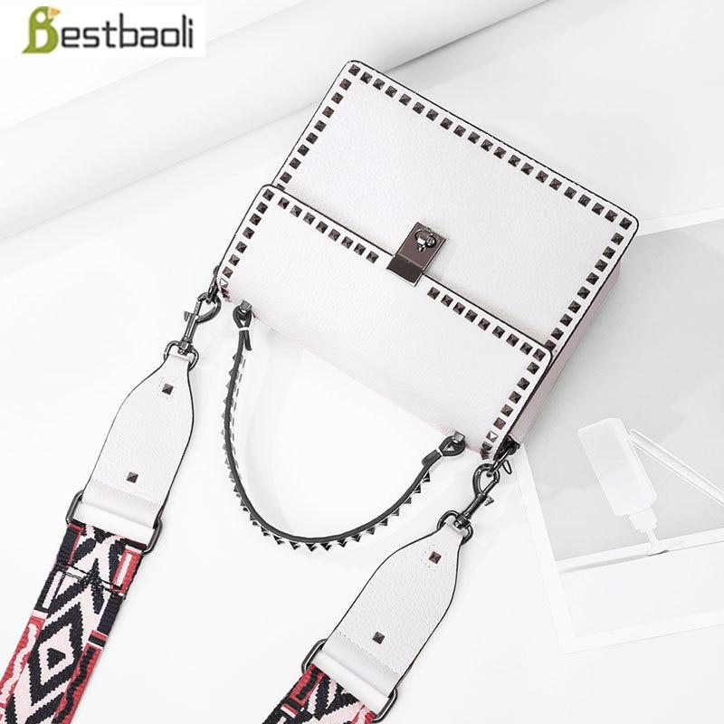 Bestbaoli 100%Genuine leather women Shoulder bags Fashion Rivet Handbags ladies totes High Quality Messenger bag free shipping