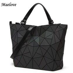 Drop Shipping Luminous Bag women's geometry lattic totes bag High Quilted Chain Shoulder Bags Laser Plain Folding Handbags