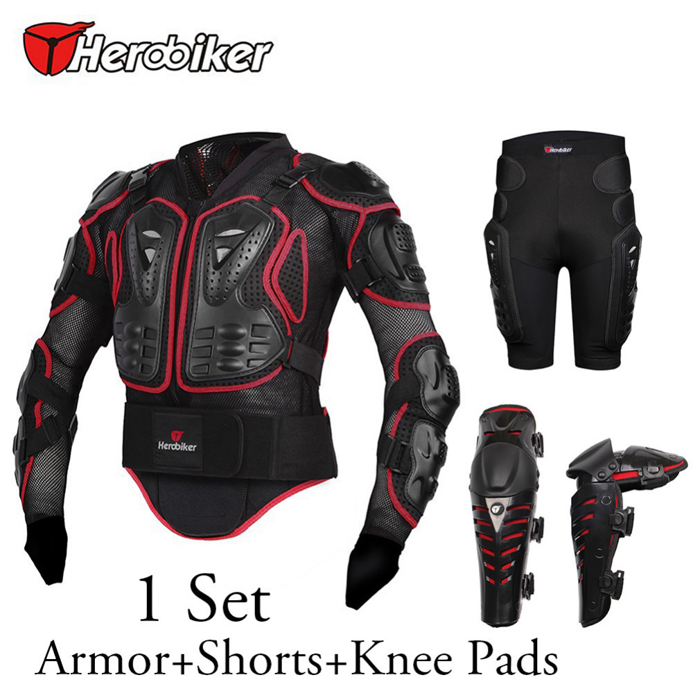 HEROBIKER Motorbike Motorcycle Body Protection Armor Jacket + Knee Pads + Off-Road Racing Protector Hip Pads Shorts 4pcs/set herobiker black motorcycle racing body armor protective jacket gears short pants motorcycle knee protector moto gloves