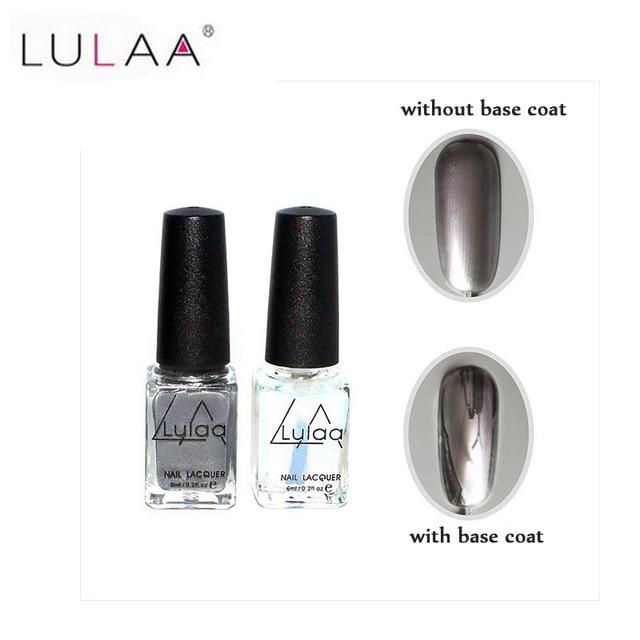 Lulaa 2 unid/set 6 ml plata espejo efecto metal Esmaltes gel de uñas ...