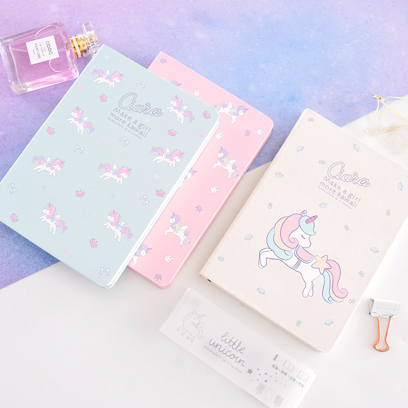 Girl Unicorn Hard cover book 36k Small Fresh Cute Diary Copy Notepad Notebook Stationery цена