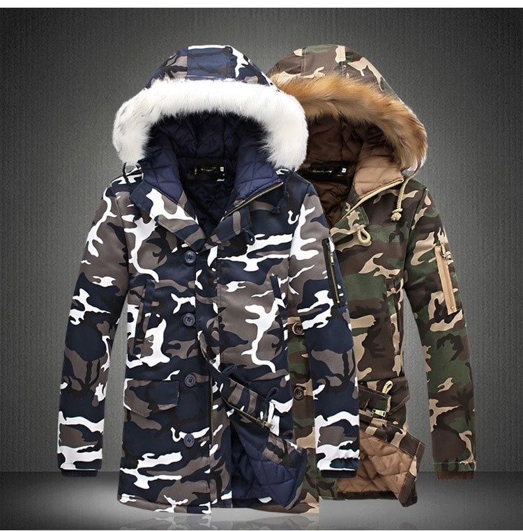 Aolamegs Camouflage Parkas Winter Jacket Men Military Style Medium-long Hooded Winter Coat Cotton-Padded Warm Jackets Plus Size (13)