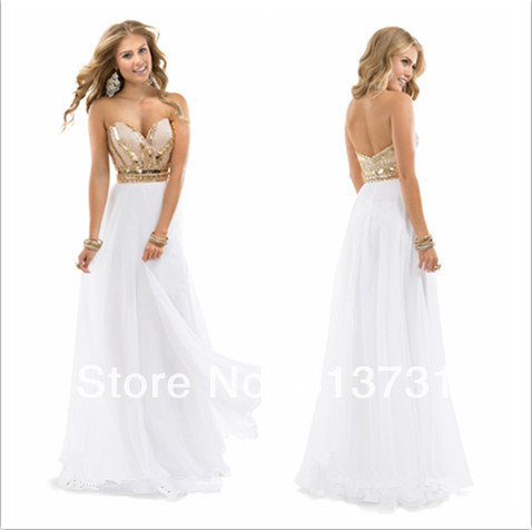 Hot Sale White And Gold Prom Dresses 2015 Sparkle Sweetheart Crystal ...