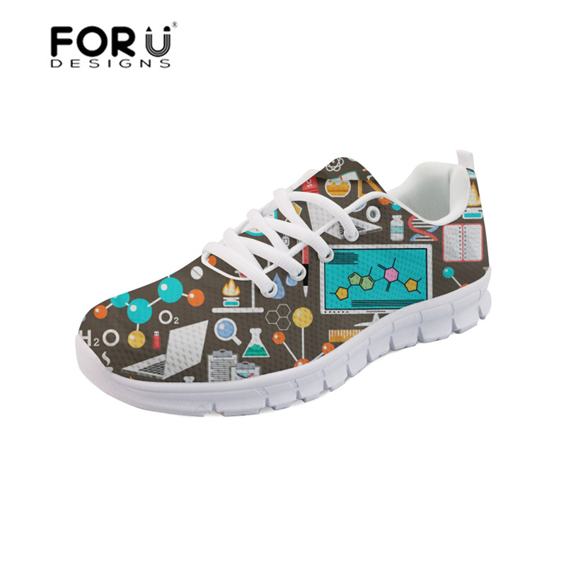 FORUDESIGNS Women Nurse Shoes Flats Mathematics Science Printing Women's Sneakers Mesh Comfortable Sapato Feminino Lightweight