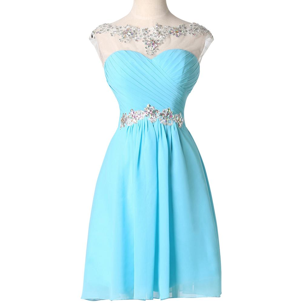 Aqua blue sheer neck capped sleeve bridesmaids dresses short grace aeproducttsubject ombrellifo Image collections