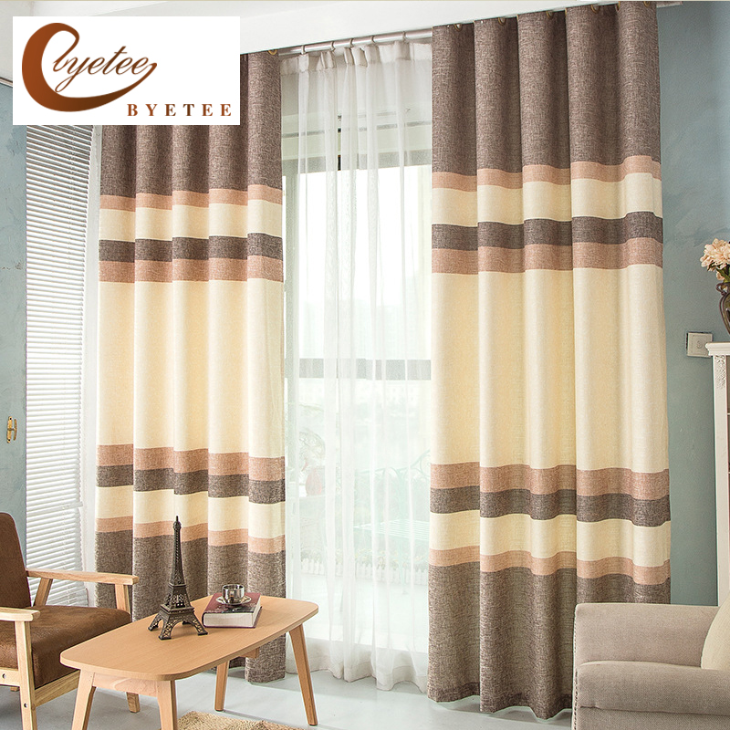 Byetee Modern Living Room Luxury Window Curtains Striped: {byetee}Luxury Faux Cotton Linen Strip Curtains For Living