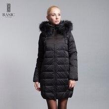 BASIC-EDITIONS nova jaqueta de inverno para baixo com capuz de pele de Pato Branco Para Baixo Casaco de Inverno Mulheres jaqueta-13W-55 Frete grátis