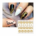 LCJ Gold Lace Flower Nail Stickers Beauty Nail Art 3D Decal Decorations Sticker On Nails Accessories 6015
