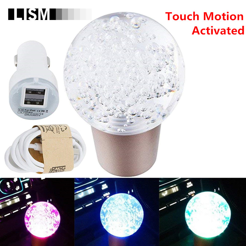TOUCH MOTION ACTIVATED Changeable LED light Universal Gear Shift Knob Gearshift Shifter Stick Lever Headball AT MT Arm Pen POMO