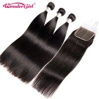Brazilian Straight Hair 3 Bundles With Closure No Shedding 100 Human Hair Bundles With Closure Wonder