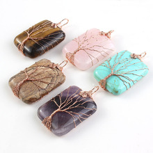 UMY Rose Gold Plated Mixed Quartz Stone Tree Life Wire Winding Square Pendant Fashion Jewelry