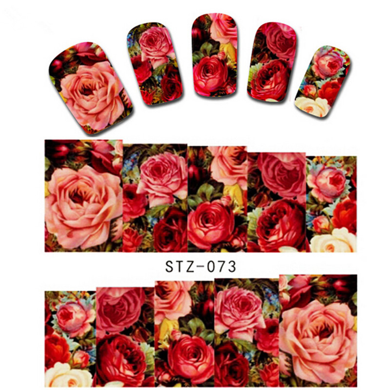1 sheet Sexy Red Rose Water Transfer Nail Art Stickers Decals Decorations DIY Watermark Wraps Manicure Tools SASTZ-073 10 sheets lot charming nail stickers full wraps flowers water transfer nail decals decorations diy watermark manicure tools