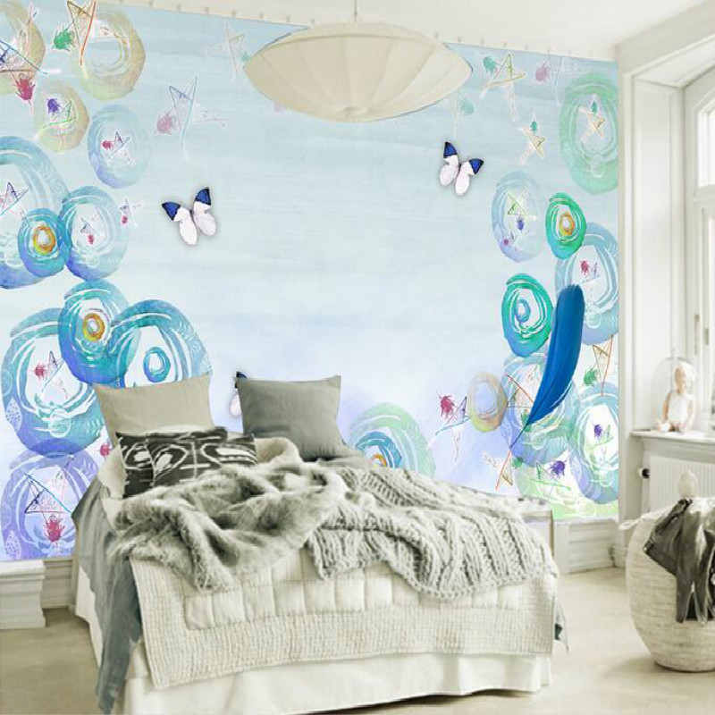 Hand-painted blue watercolor circle decoration painting large murals 3D wallpaper living room bedroom TV background 3D wallpaper large mural living room paper bedroom study 3d wallpaper blue sky children room decoration painting
