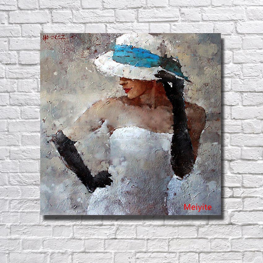 Modern Pure Hand painted Girl Oil Painting On Canvas Beautiful Painting Modern Home Decoration Picture No