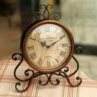 Vintage iron home decoration table clock silent desktop clock montre reine des neiges horloge 16
