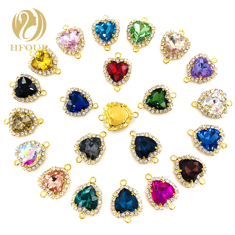 US $3.51 30% OFF|NEW 12mm heart double loop gold base flatback glass sew on rhinestones crystal button DIY necklace/Jewelry/Bracelet/accessories|Rhinestones| |  - AliExpress