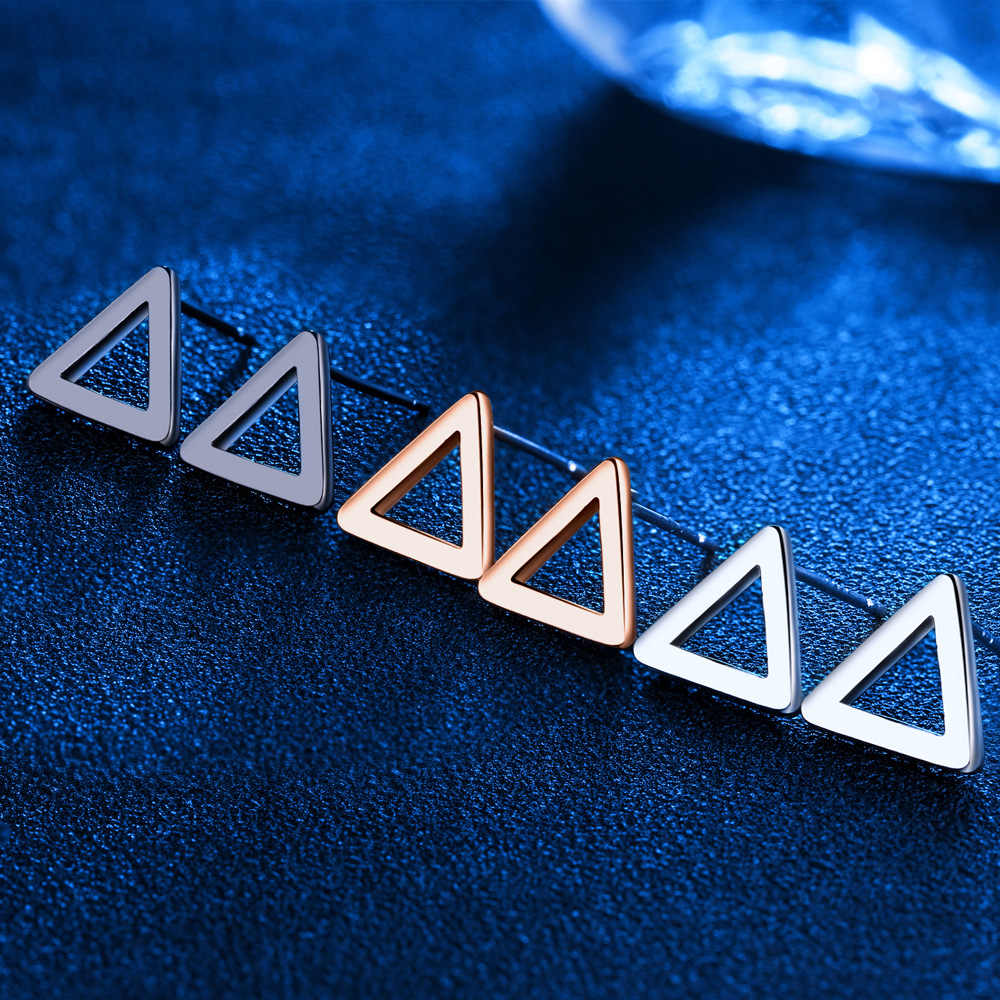 10mm Triangle Hollow Shape Accessorise Silver / Rose Gold / Black Colors Stud Earrings For Women Fashion OL Jewelry (EA102650)