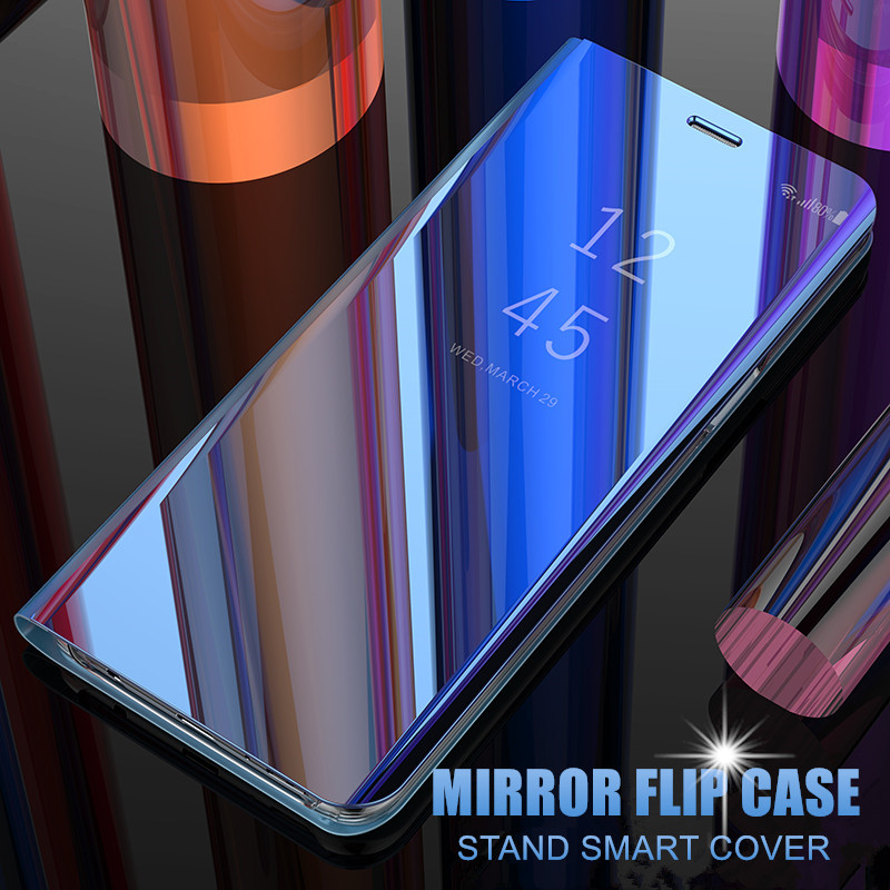 Smart Mirror Flip Phone <font><b>Case</b></font> For <font><b>Samsung</b></font> <font><b>Galaxy</b></font> Note 10 Plus A6 A7 A9 J4 J6 2018 A10E A20e <font><b>A30</b></font> A40 A50 A70 Leather Stand Cover image