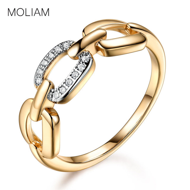 MOLIAM Rings for Women Gold-Color 3 Square Connected Cubic Zirconia Mid Ring Lad