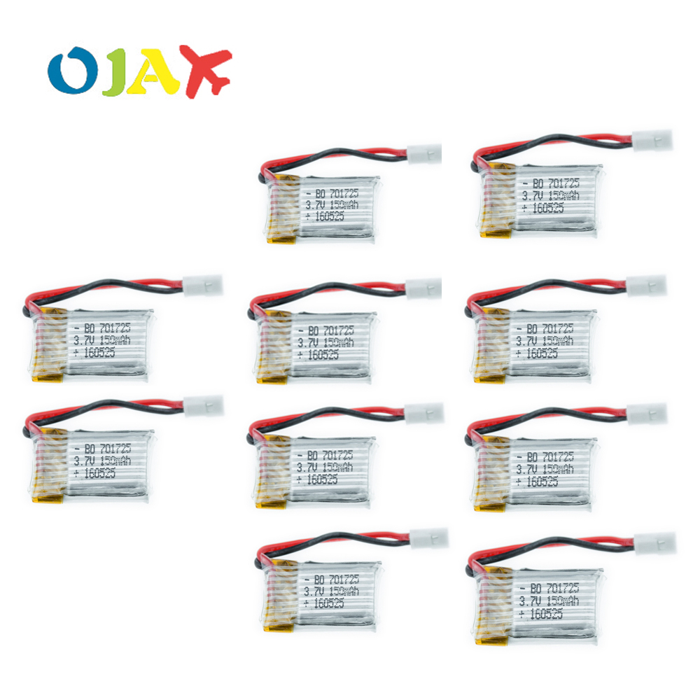 10pcs 3.7V 150mAh Drone Quadcopter Lipo Battery 701725 With A+ Quality For Eachine H8 JJRC H8 Mini Syma S107g X2 Nihui U207 H2 2pcs high quality 4s full 5400mah 14 8v 79 92wh replacement lipo battery for yuneec typhoon h drone rc quadcopter