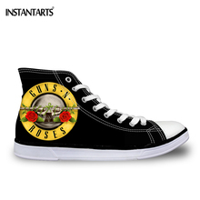 INSTANTARTS Classic Women Men Vulcanize Shoes Fashion Guns N Roses Rock Band 3D Print Couples High Top Lace-up Flat Canvas Shoes