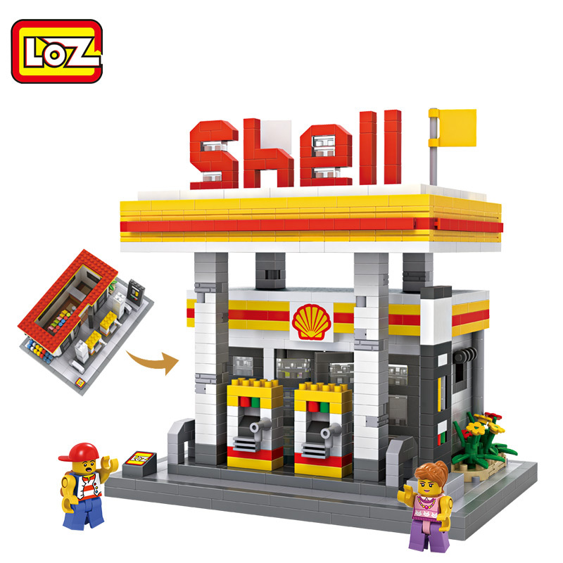 LOZ City Creative Bricks 9033 Gas Station Model Diamond Building Blocks Bricks Toys Children Intelligence Gifts Kids DIY Toys