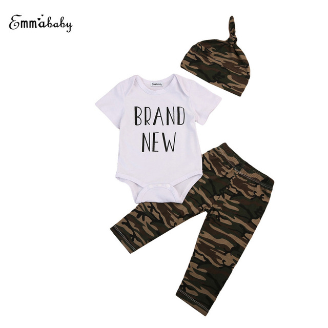 72370fee5a40a Brand New 2018 Newborn Baby Boy Clothes Girls Top White Romper Camo Pants  Camouflage Leggings Outfit Clothes