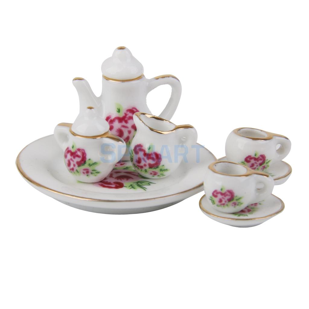 44fa8ea584b65 8pcs Dollhouse Miniature Dining Ware Porcelain Tea Set Flower Dish Cup Plate-in  Furniture Toys from Toys   Hobbies on Aliexpress.com