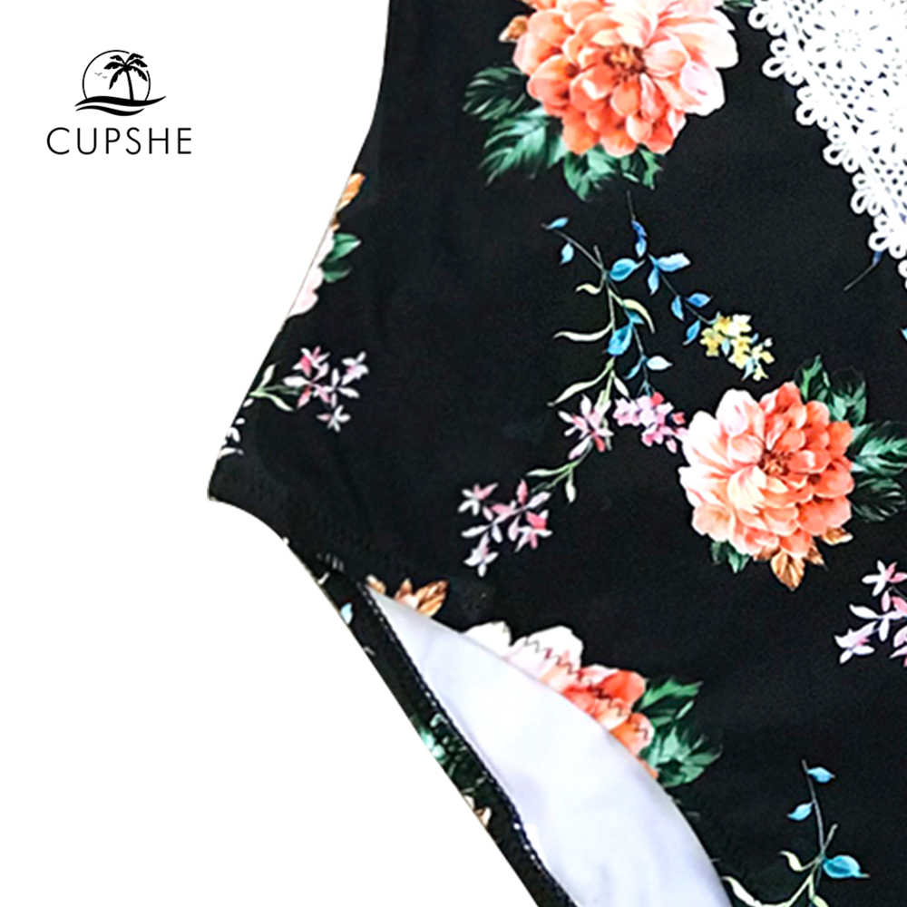 CUPSHE цветочный принт кружевной цельный купальник женский v-образный Вырез Монокини с низким вырезом на спине купальные костюмы 2019 девушка сексуальные купальники