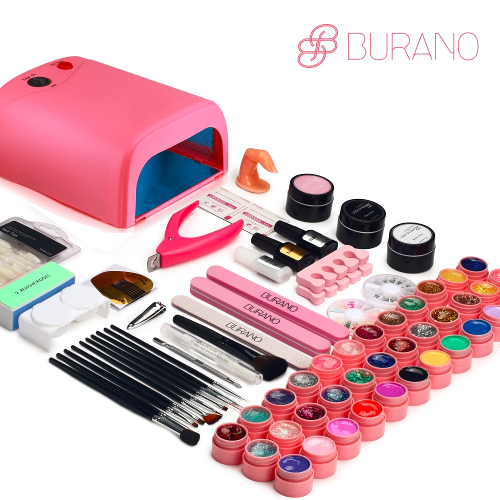 burano 36 colors uv led lamp gel polish nail tools set nail kit brush nail power manicure set. Black Bedroom Furniture Sets. Home Design Ideas