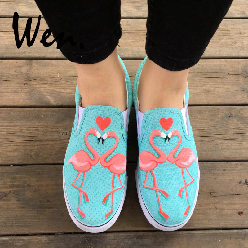 Wen Flamingo Hand Painted Shoes Bird Original Design Slip On Shoes Loving Heart Custom Canvas Sneakers for Man Woman Plimsolls foot sequins slip on plimsolls