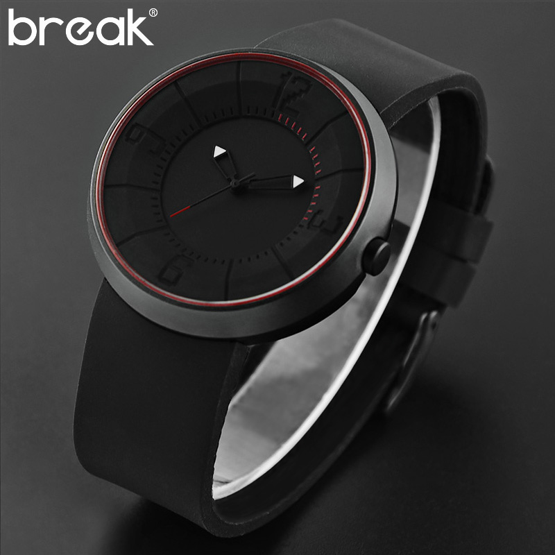 2017 Men s Gift Break Watch Men Creative Black Fire Design Wristwatch Breathe Freely Strap Sports