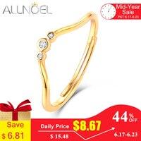 ALLNOEL настоящая кольца из стерлингового серебра 925 для Женская циркониевая бриллиантовый камень Укладка Размер обручальное кольцо ювелирны...