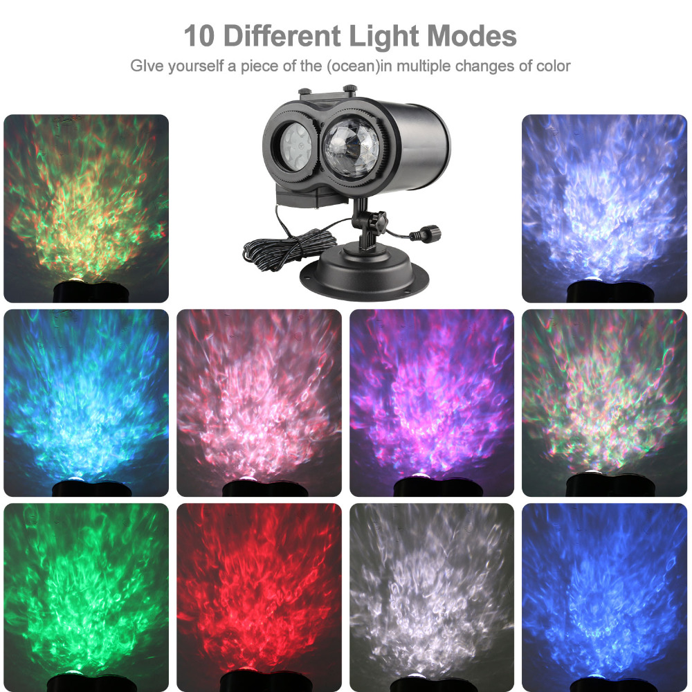 16 Slides Ocean Wave Snowflake Christmas Projector Lights Waterproof Outdoor Laser Projector New Year Party Garden Decoration in Stage Lighting Effect from Lights Lighting