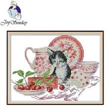 Joy Sunday,Cat And Porcelain,animal pattern cross stitch embroidery set,printing cloth kit,cross needlework