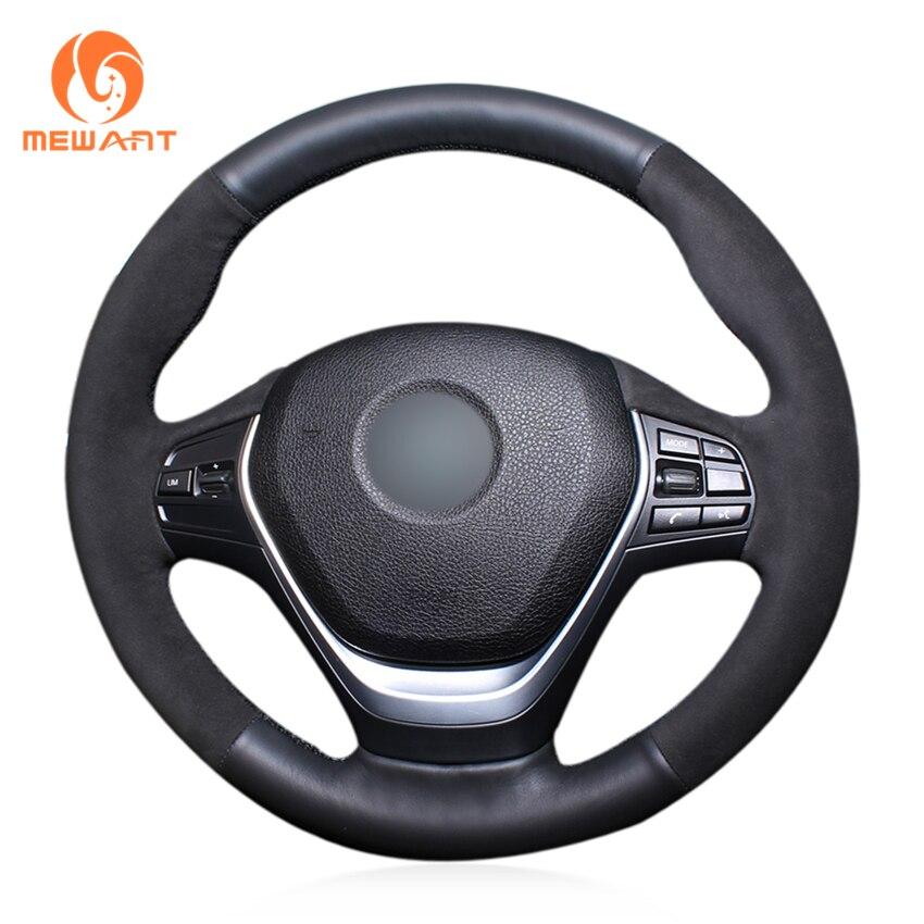 MEWANT Black Genuine Leather Black Suede Car Steering Wheel Cover for BMW F20 2012-2018 F45 2014-2018 F30 F31 F34 2013-2017 mewant black artificial leather car steering wheel cover for bmw f30 316i 320i 328i